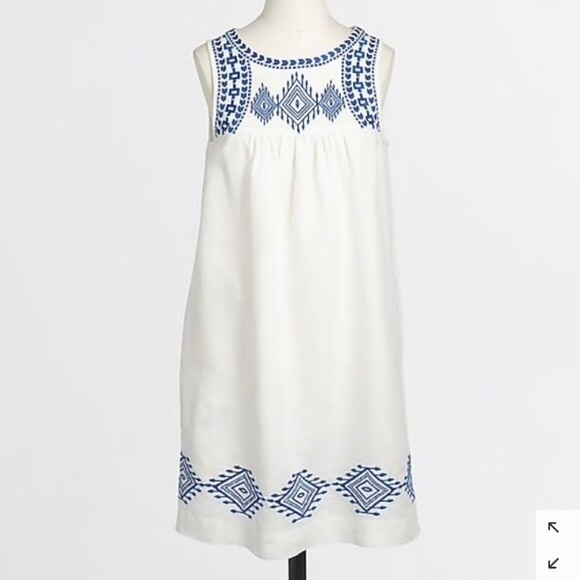 J Crew Liner-Cotton Embroidered Dress